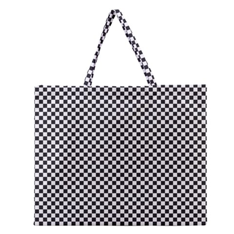 Sports Racing Chess Squares Black White Zipper Large Tote Bag