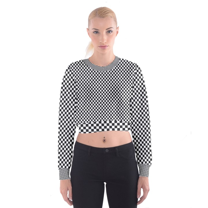 Sports Racing Chess Squares Black White Women s Cropped Sweatshirt