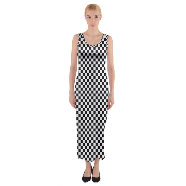 Sports Racing Chess Squares Black White Fitted Maxi Dress