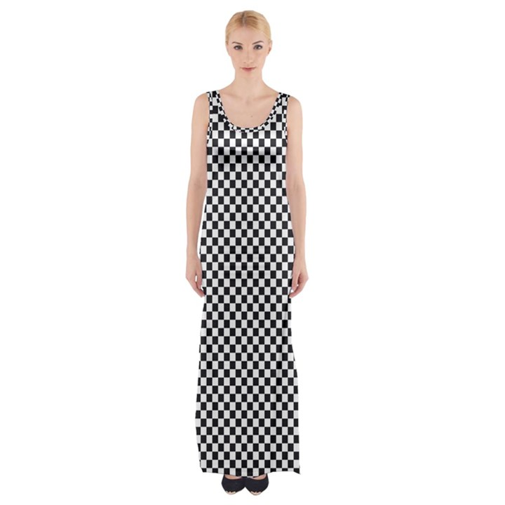 Sports Racing Chess Squares Black White Maxi Thigh Split Dress