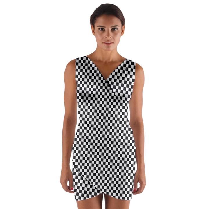 Sports Racing Chess Squares Black White Wrap Front Bodycon Dress