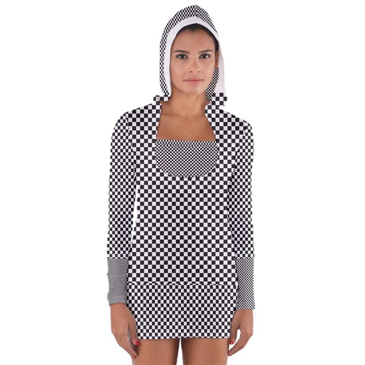 Sports Racing Chess Squares Black White Women s Long Sleeve Hooded T-shirt