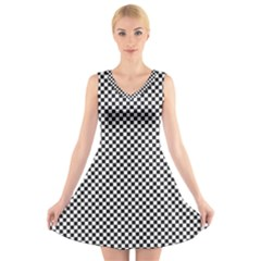 Sports Racing Chess Squares Black White V-Neck Sleeveless Skater Dress