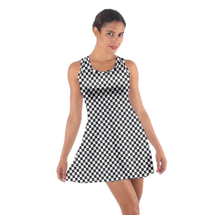 Sports Racing Chess Squares Black White Cotton Racerback Dress
