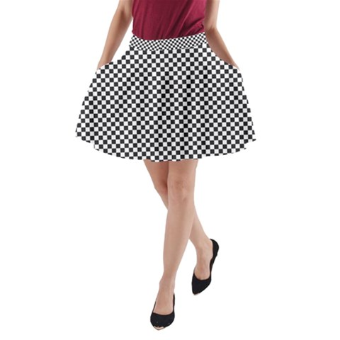 Sports Racing Chess Squares Black White A-Line Pocket Skirt