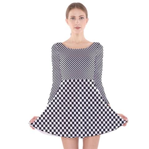 Sports Racing Chess Squares Black White Long Sleeve Velvet Skater Dress