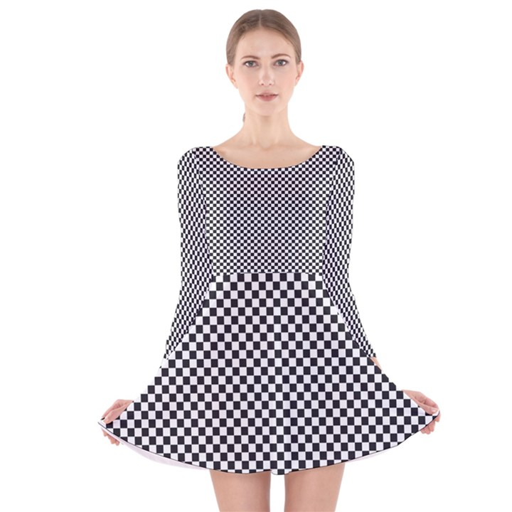 Sports Racing Chess Squares Black White Long Sleeve Velvet Skater Dress