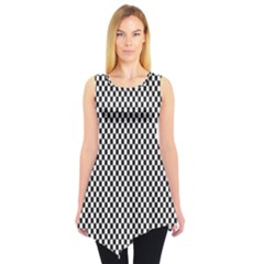 Sports Racing Chess Squares Black White Sleeveless Tunic