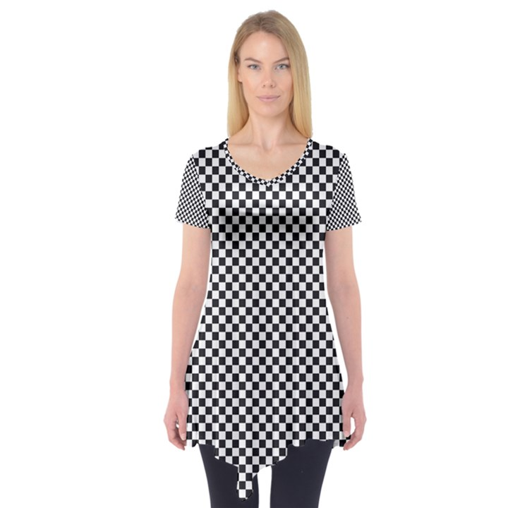 Sports Racing Chess Squares Black White Short Sleeve Tunic