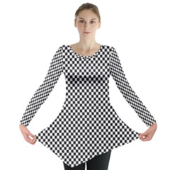 Sports Racing Chess Squares Black White Long Sleeve Tunic