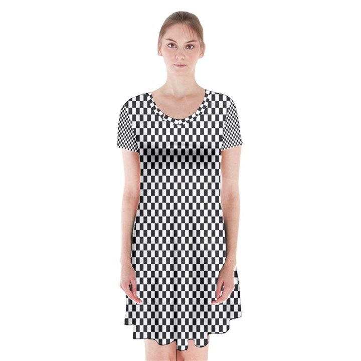 Sports Racing Chess Squares Black White Short Sleeve V-neck Flare Dress