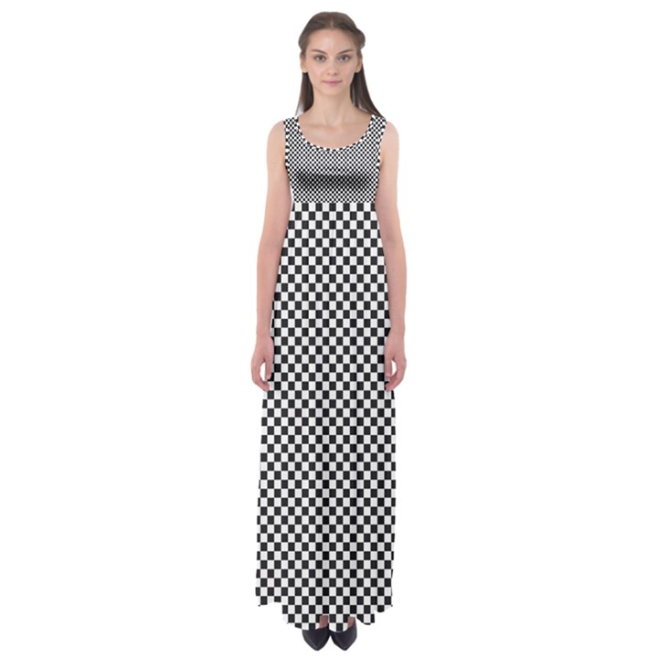 Sports Racing Chess Squares Black White Empire Waist Maxi Dress