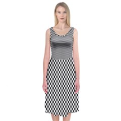 Sports Racing Chess Squares Black White Midi Sleeveless Dress