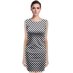 Sports Racing Chess Squares Black White Classic Sleeveless Midi Dress