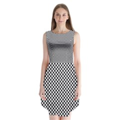 Sports Racing Chess Squares Black White Sleeveless Chiffon Dress