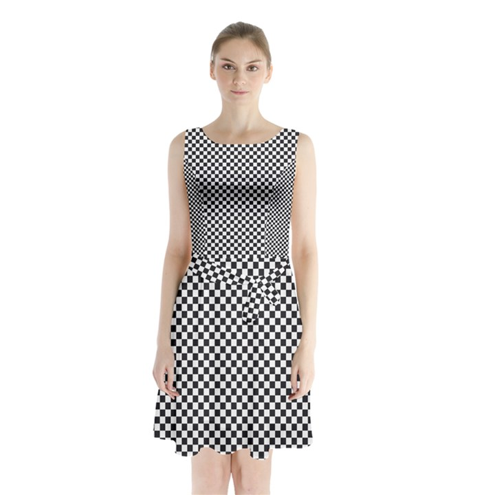 Sports Racing Chess Squares Black White Sleeveless Chiffon Waist Tie Dress