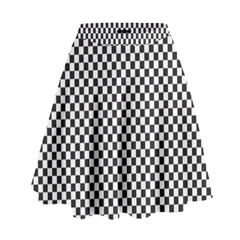 Sports Racing Chess Squares Black White High Waist Skirt