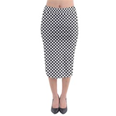 Sports Racing Chess Squares Black White Midi Pencil Skirt