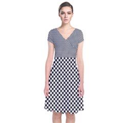 Sports Racing Chess Squares Black White Short Sleeve Front Wrap Dress