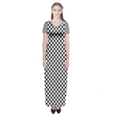 Sports Racing Chess Squares Black White Short Sleeve Maxi Dress