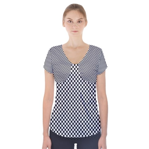 Sports Racing Chess Squares Black White Short Sleeve Front Detail Top
