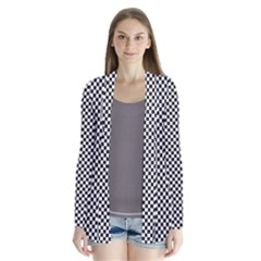 Sports Racing Chess Squares Black White Drape Collar Cardigan