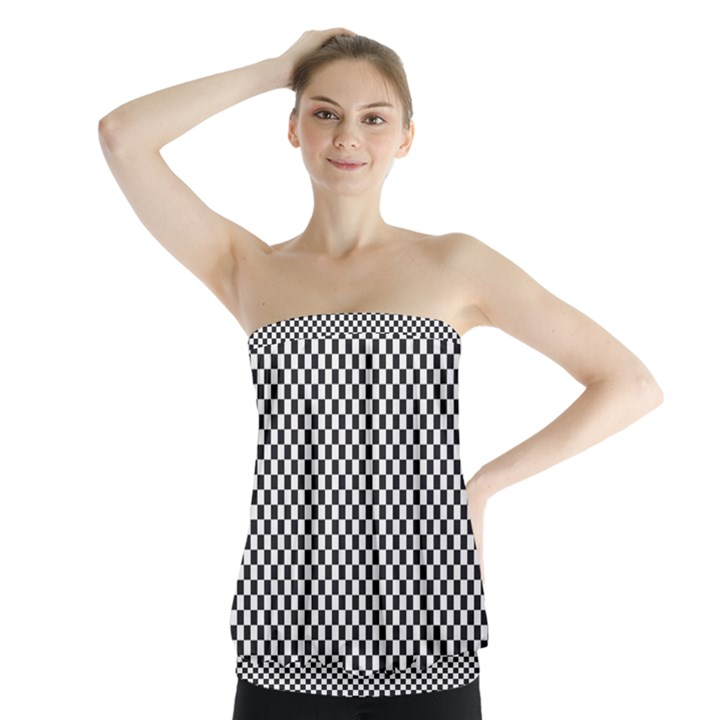 Sports Racing Chess Squares Black White Strapless Top