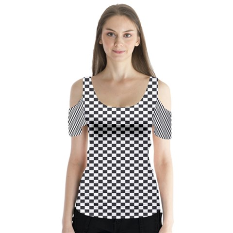Sports Racing Chess Squares Black White Butterfly Sleeve Cutout Tee