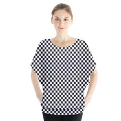 Sports Racing Chess Squares Black White Blouse