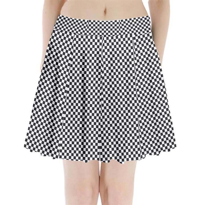 Sports Racing Chess Squares Black White Pleated Mini Skirt