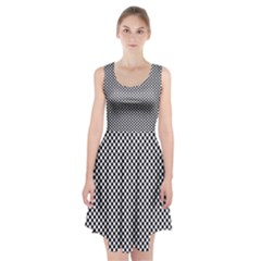 Sports Racing Chess Squares Black White Racerback Midi Dress