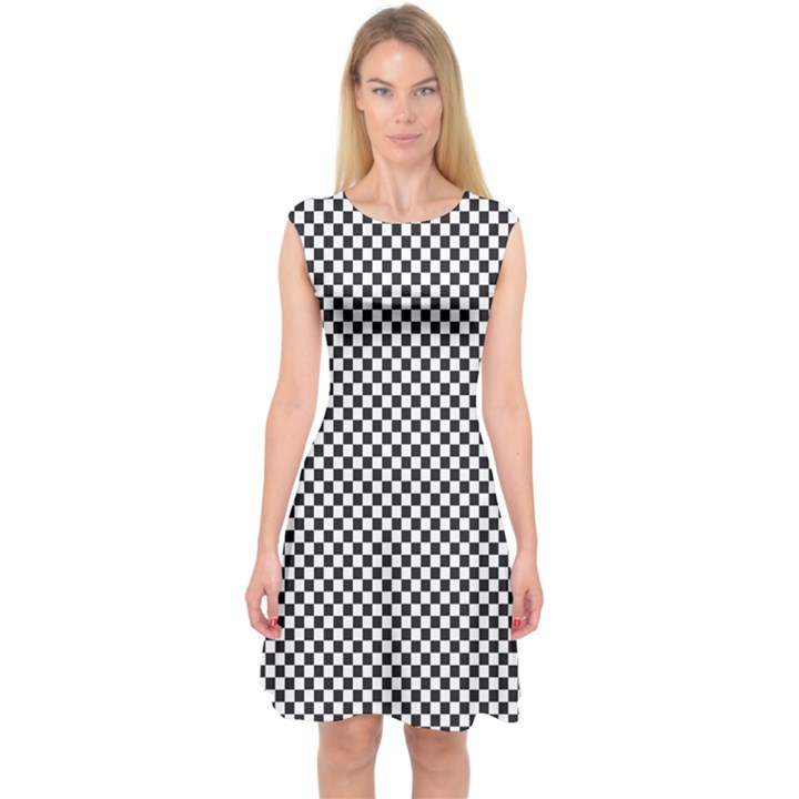 Sports Racing Chess Squares Black White Capsleeve Midi Dress