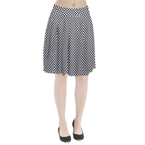 Sports Racing Chess Squares Black White Pleated Skirt