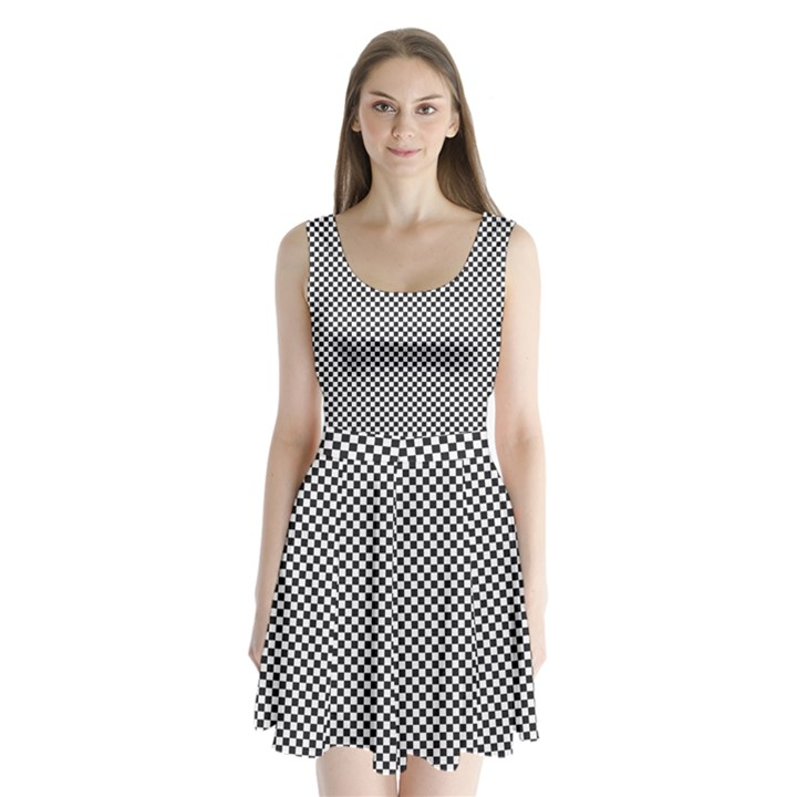 Sports Racing Chess Squares Black White Split Back Mini Dress