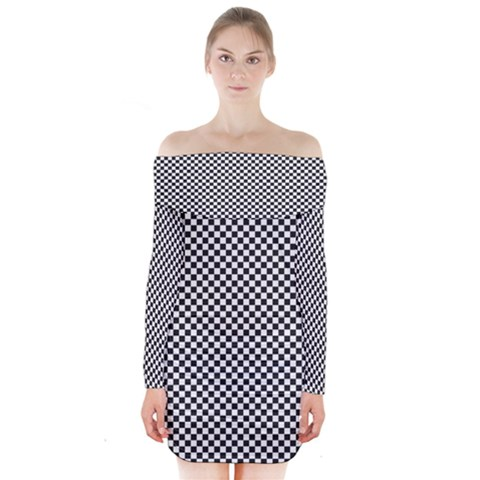 Sports Racing Chess Squares Black White Long Sleeve Off Shoulder Dress