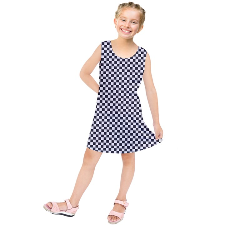 Sports Racing Chess Squares Black White Kids  Tunic Dress
