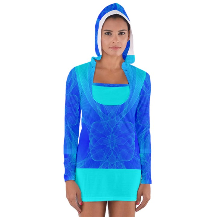 Blue Sky  Women s Long Sleeve Hooded T-shirt
