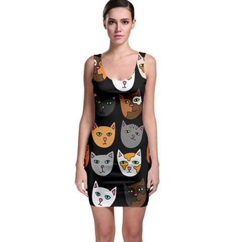 Cats Sleeveless Bodycon Dress