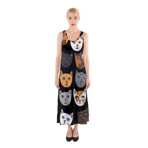 Cats Sleeveless Maxi Dress