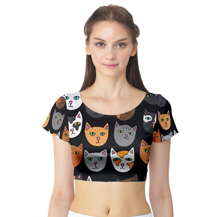 Cats Short Sleeve Crop Top (Tight Fit)