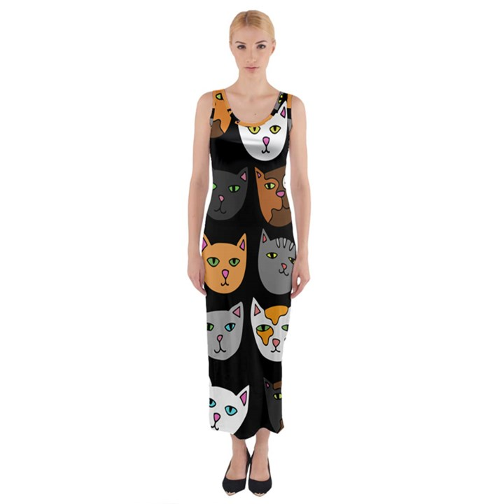 Cats Fitted Maxi Dress