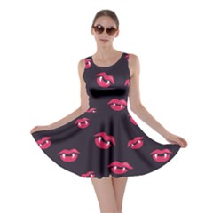 Pattern Of Vampire Mouths And Fangs Skater Dress