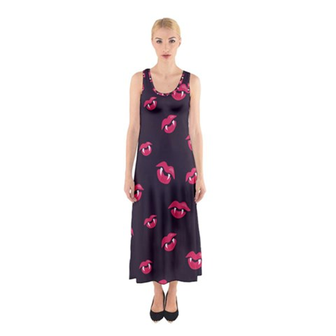 Pattern Of Vampire Mouths And Fangs Sleeveless Maxi Dress