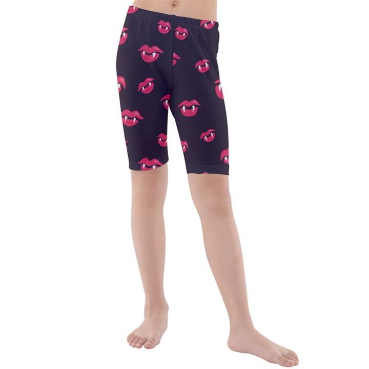 Pattern Of Vampire Mouths And Fangs Kids  Mid Length Swim Shorts