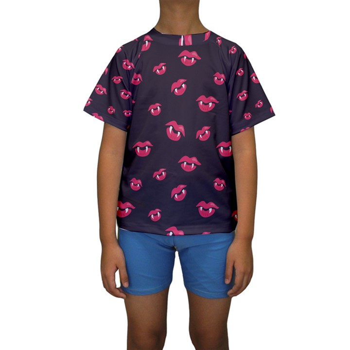 Pattern Of Vampire Mouths And Fangs Kids  Short Sleeve Swimwear