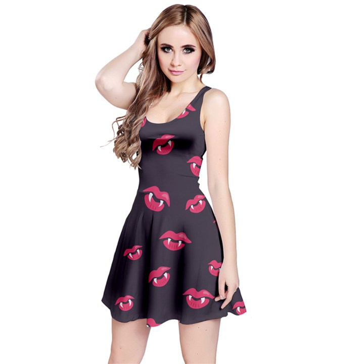 Pattern Of Vampire Mouths And Fangs Reversible Sleeveless Dress