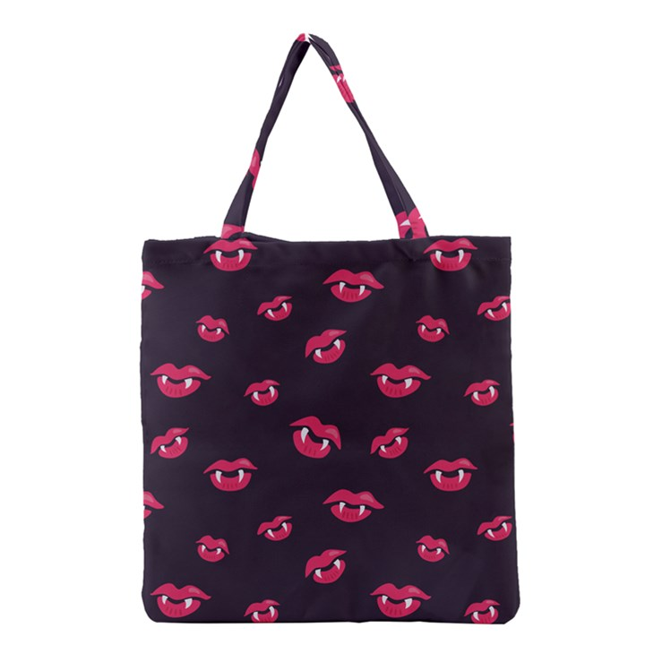 Pattern Of Vampire Mouths And Fangs Grocery Tote Bag