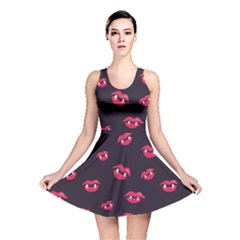 Pattern Of Vampire Mouths And Fangs Reversible Skater Dress