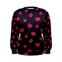 Pattern Of Vampire Mouths And Fangs Women s Sweatshirt