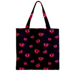 Pattern Of Vampire Mouths And Fangs Zipper Grocery Tote Bag